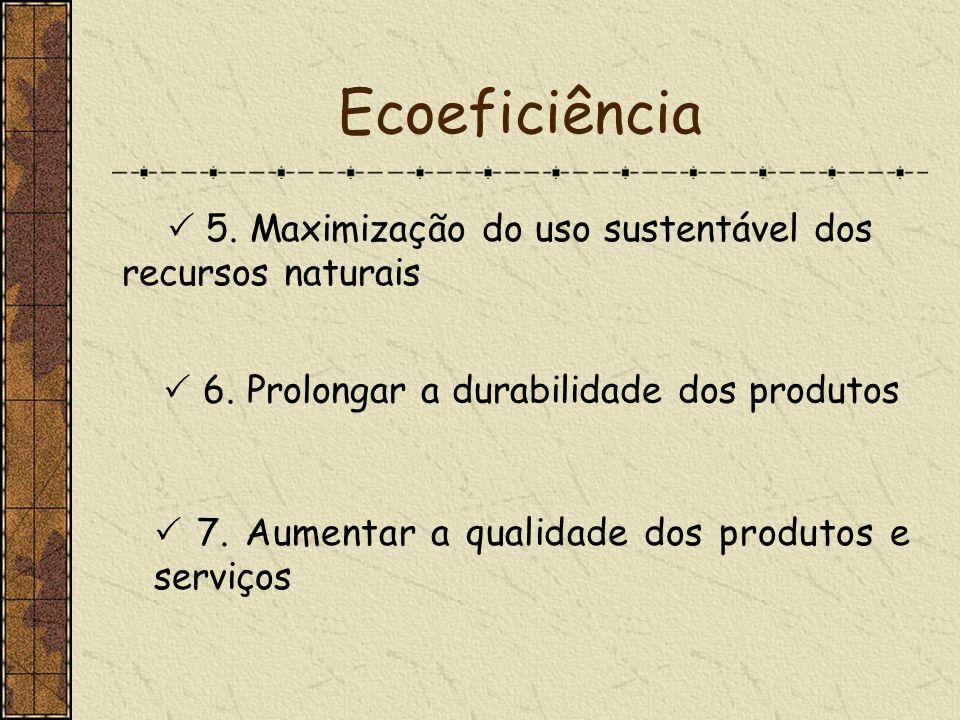 Ecoeficiência 5. Maximização do uso sustentável dos recursos naturais 6. Prolongar a durabilidade dos produtos 7. Aumentar a qualidade dos produtos e