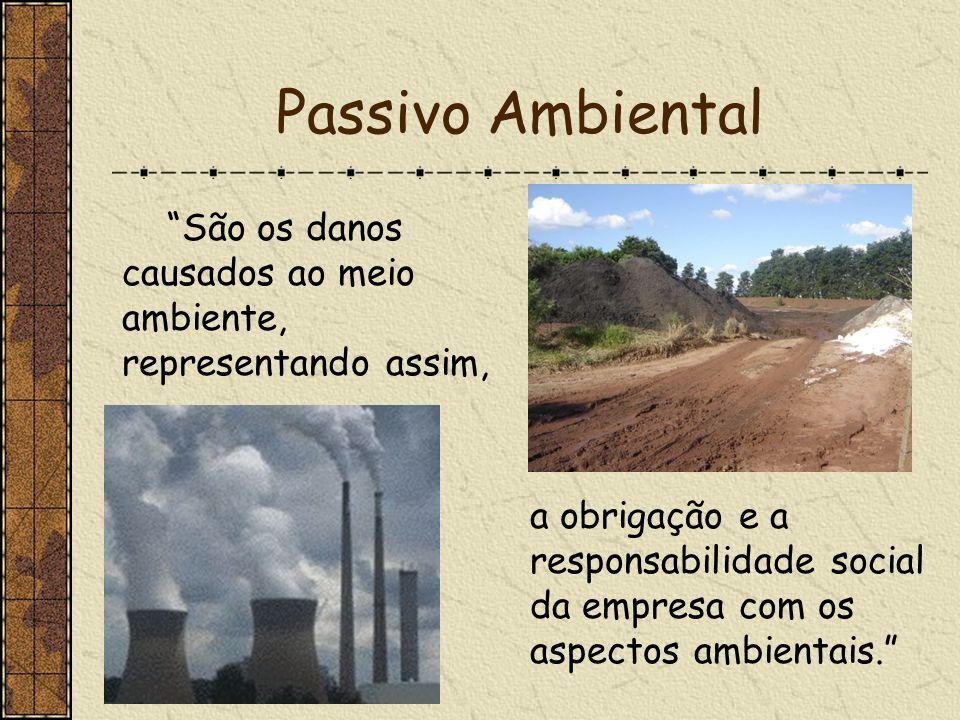 Passivo Ambiental São os danos causados ao meio ambiente, representando assim, a obrigação e a responsabilidade social da empresa com os aspectos ambi