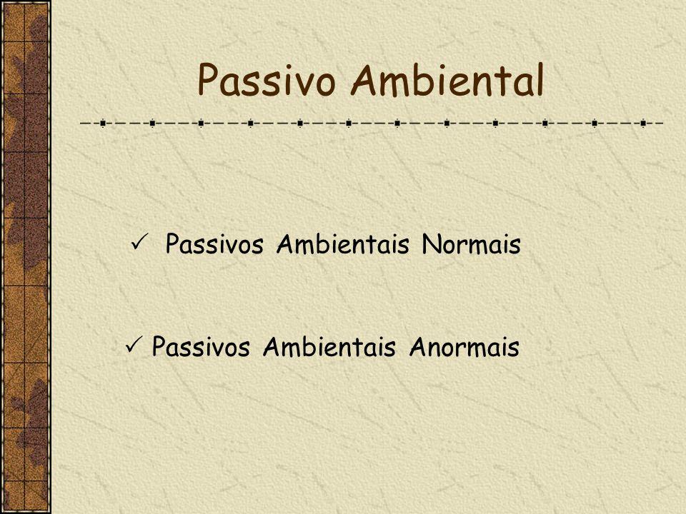 Passivo Ambiental Passivos Ambientais Normais Passivos Ambientais Anormais