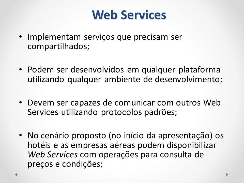 Web Services Implementam serviços que precisam ser compartilhados; Podem ser desenvolvidos em qualquer plataforma utilizando qualquer ambiente de dese