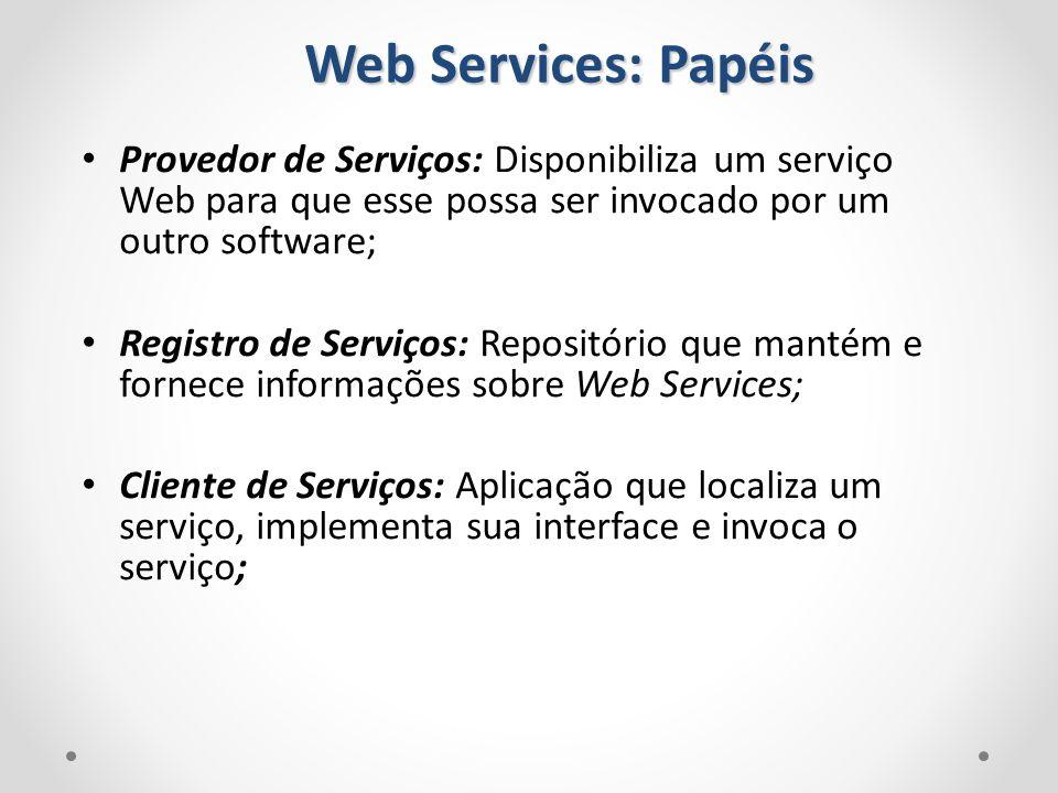 Web Services: Papéis Provedor de Serviços: Disponibiliza um serviço Web para que esse possa ser invocado por um outro software; Registro de Serviços:
