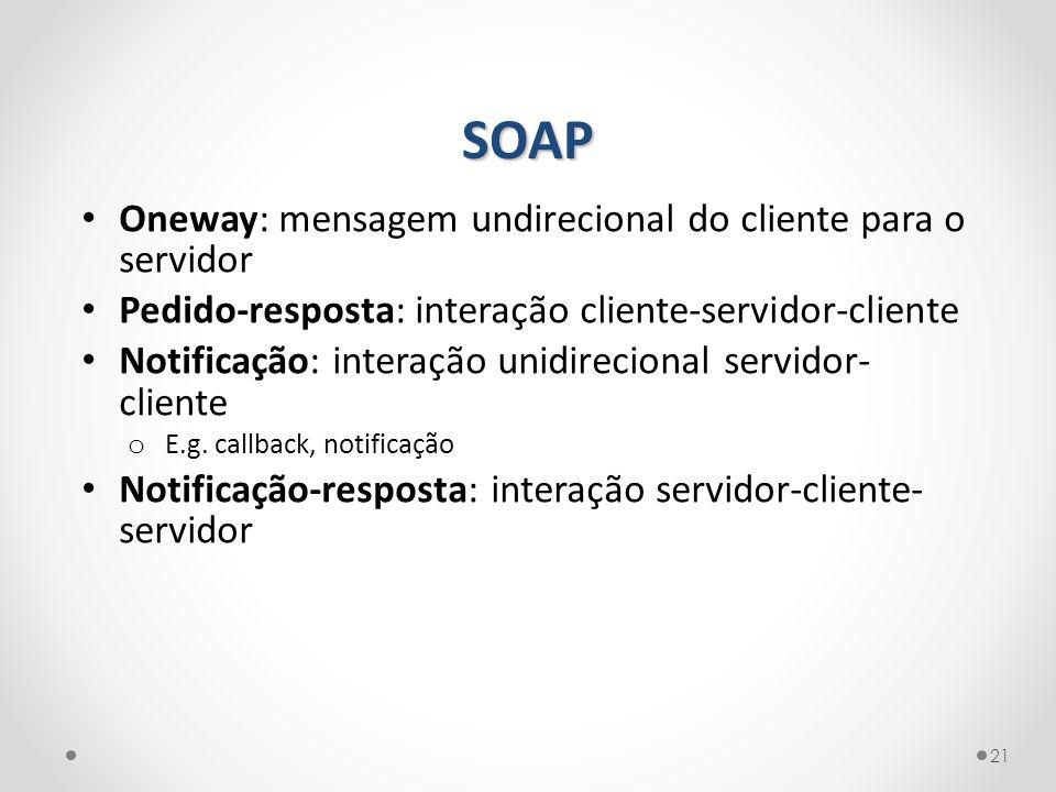 SOAP 21 Oneway: mensagem undirecional do cliente para o servidor Pedido-resposta: interação cliente-servidor-cliente Notificação: interação unidirecio