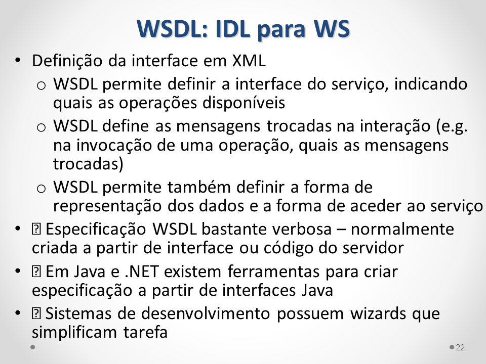 WSDL: IDL para WS 22 Definição da interface em XML o WSDL permite definir a interface do serviço, indicando quais as operações disponíveis o WSDL defi