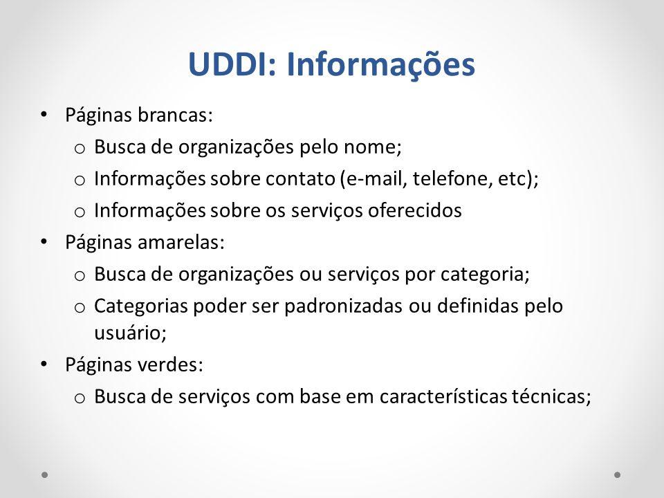 UDDI: Informações Páginas brancas: o Busca de organizações pelo nome; o Informações sobre contato (e-mail, telefone, etc); o Informações sobre os serv