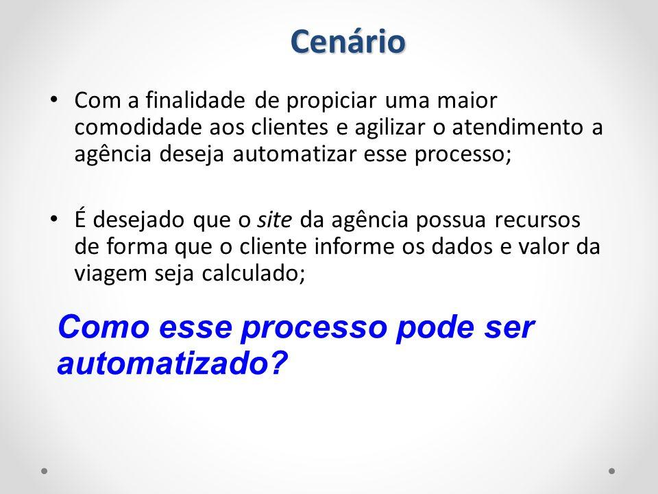 Cenário Com a finalidade de propiciar uma maior comodidade aos clientes e agilizar o atendimento a agência deseja automatizar esse processo; É desejad
