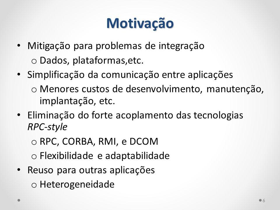 Motivação Mitigação para problemas de integração o Dados, plataformas,etc. Simplificação da comunicação entre aplicações o Menores custos de desenvolv