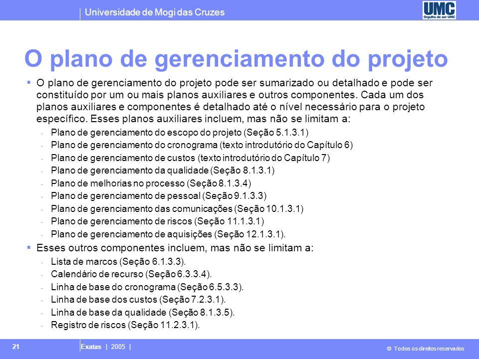Universidade de Mogi das Cruzes © Todos os direitos reservados Exatas | 2005 | 21 O plano de gerenciamento do projeto O plano de gerenciamento do proj