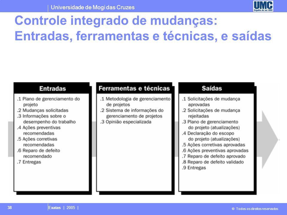 Universidade de Mogi das Cruzes © Todos os direitos reservados Exatas | 2005 | 38 Controle integrado de mudanças: Entradas, ferramentas e técnicas, e