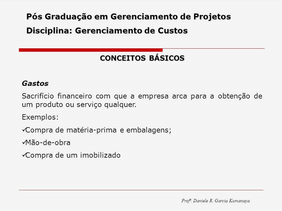 Pós Graduação em Gerenciamento de Projetos Disciplina: Gerenciamento de Custos Profª. Daniele R. Garcia Kumanaya CONCEITOS BÁSICOS Gastos Sacrifício f