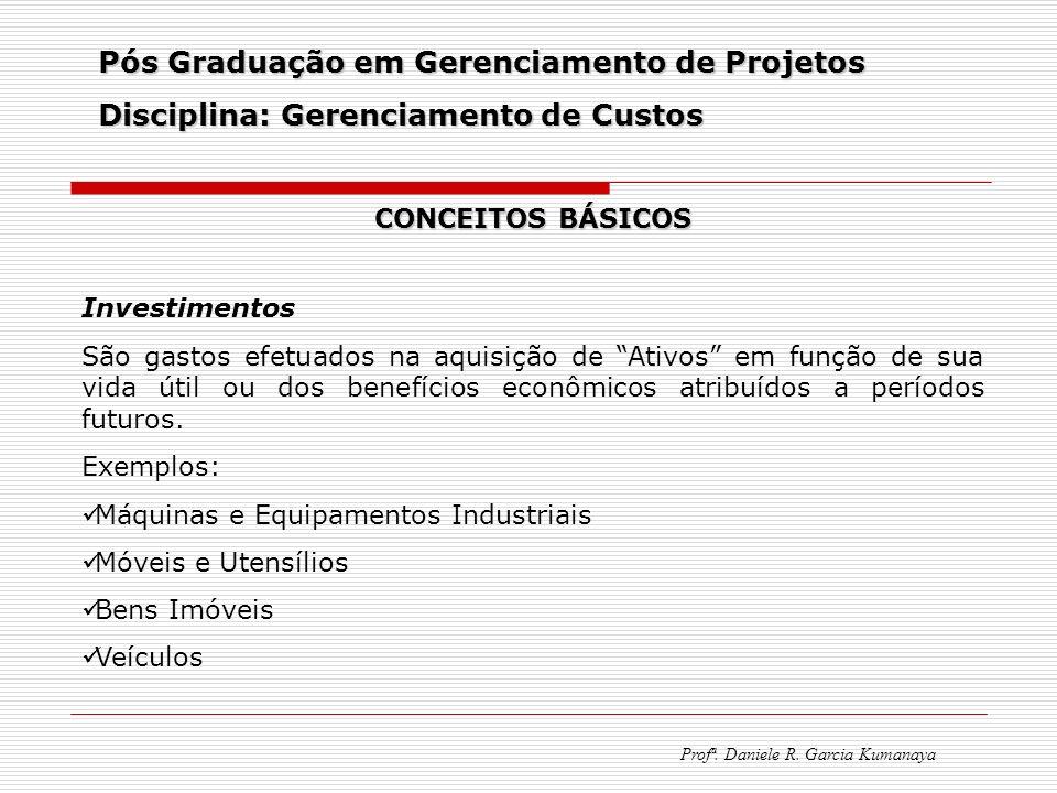 Pós Graduação em Gerenciamento de Projetos Disciplina: Gerenciamento de Custos Profª. Daniele R. Garcia Kumanaya CONCEITOS BÁSICOS Investimentos São g