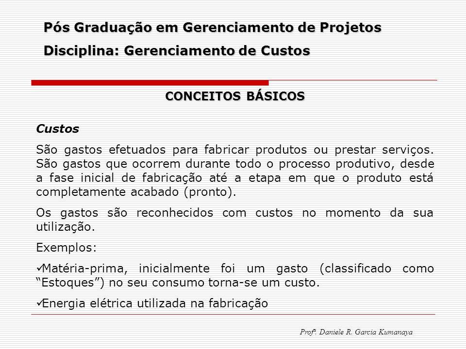 Pós Graduação em Gerenciamento de Projetos Disciplina: Gerenciamento de Custos Profª. Daniele R. Garcia Kumanaya CONCEITOS BÁSICOS Custos São gastos e