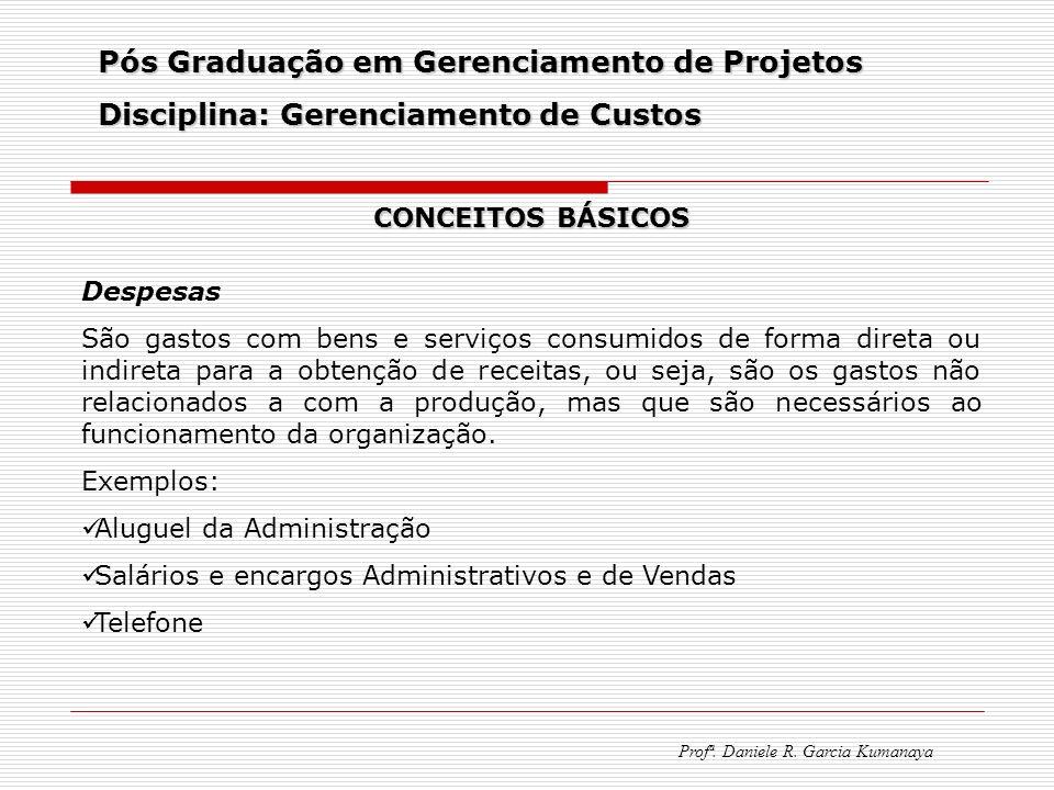 Pós Graduação em Gerenciamento de Projetos Disciplina: Gerenciamento de Custos Profª. Daniele R. Garcia Kumanaya CONCEITOS BÁSICOS Despesas São gastos