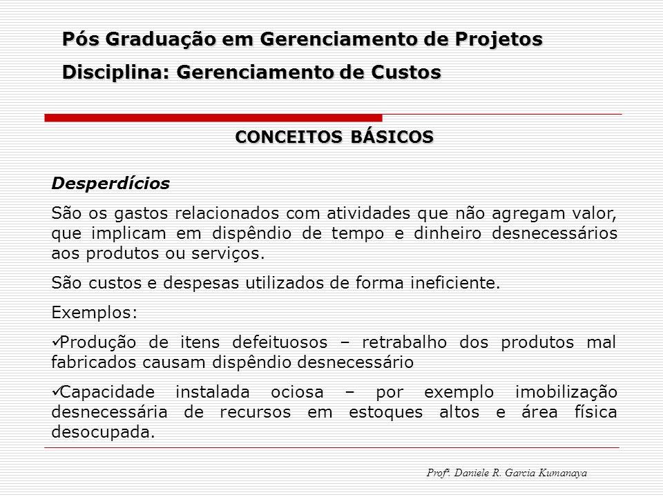 Pós Graduação em Gerenciamento de Projetos Disciplina: Gerenciamento de Custos Profª. Daniele R. Garcia Kumanaya CONCEITOS BÁSICOS Desperdícios São os