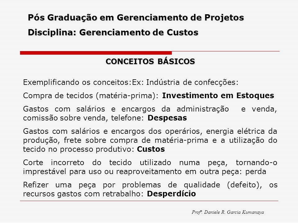 Pós Graduação em Gerenciamento de Projetos Disciplina: Gerenciamento de Custos Profª. Daniele R. Garcia Kumanaya CONCEITOS BÁSICOS Exemplificando os c