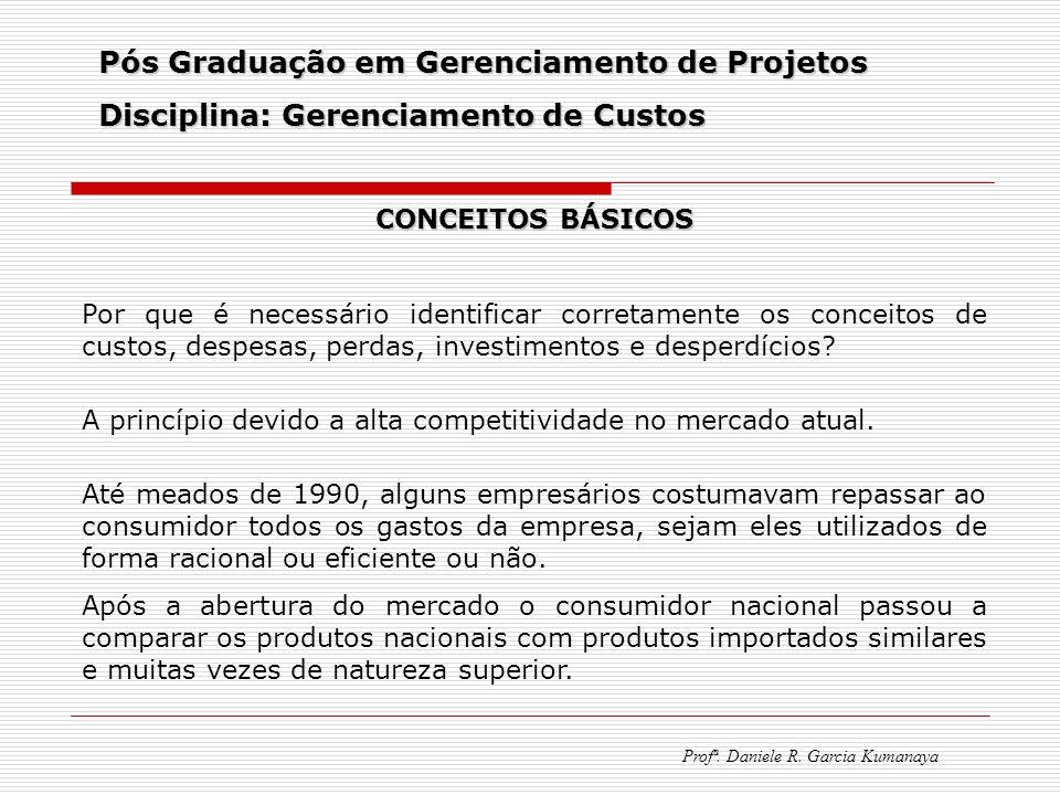 Pós Graduação em Gerenciamento de Projetos Disciplina: Gerenciamento de Custos Profª. Daniele R. Garcia Kumanaya CONCEITOS BÁSICOS Por que é necessári