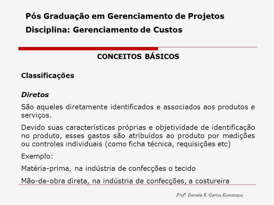 Pós Graduação em Gerenciamento de Projetos Disciplina: Gerenciamento de Custos Profª. Daniele R. Garcia Kumanaya CONCEITOS BÁSICOS Classificações Dire