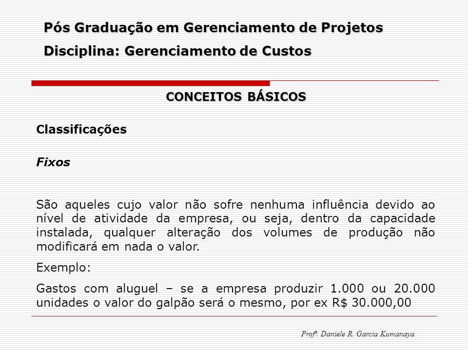 Pós Graduação em Gerenciamento de Projetos Disciplina: Gerenciamento de Custos Profª. Daniele R. Garcia Kumanaya CONCEITOS BÁSICOS Classificações Fixo