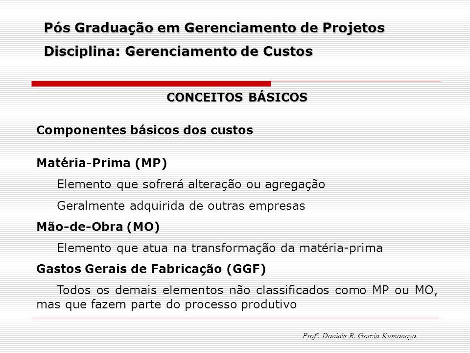 Pós Graduação em Gerenciamento de Projetos Disciplina: Gerenciamento de Custos Profª. Daniele R. Garcia Kumanaya CONCEITOS BÁSICOS Componentes básicos