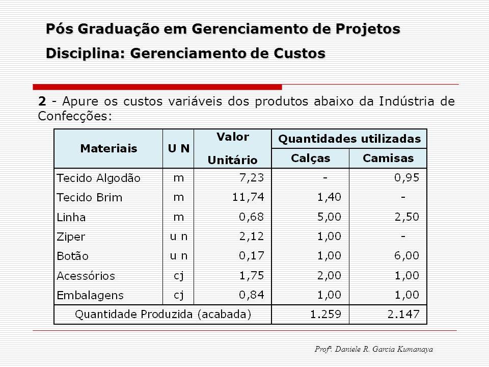 Pós Graduação em Gerenciamento de Projetos Disciplina: Gerenciamento de Custos Profª. Daniele R. Garcia Kumanaya 2 - Apure os custos variáveis dos pro