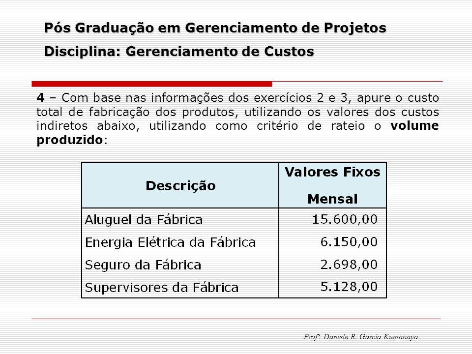 Pós Graduação em Gerenciamento de Projetos Disciplina: Gerenciamento de Custos Profª. Daniele R. Garcia Kumanaya 4 – Com base nas informações dos exer