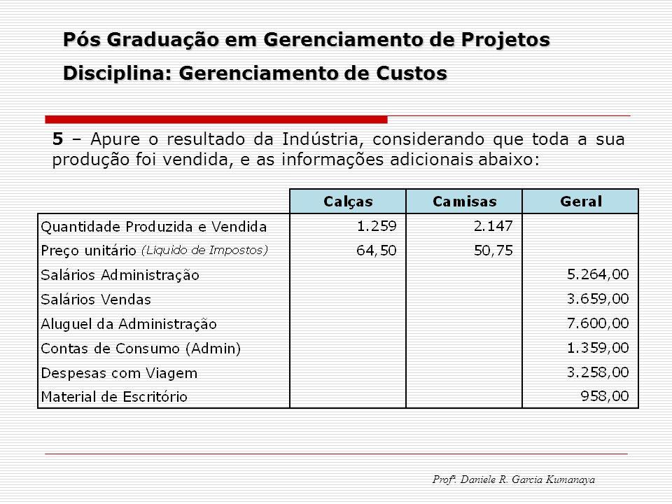 Pós Graduação em Gerenciamento de Projetos Disciplina: Gerenciamento de Custos Profª. Daniele R. Garcia Kumanaya 5 – Apure o resultado da Indústria, c