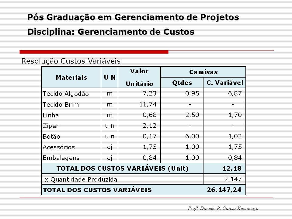 Pós Graduação em Gerenciamento de Projetos Disciplina: Gerenciamento de Custos Profª. Daniele R. Garcia Kumanaya Resolução Custos Variáveis