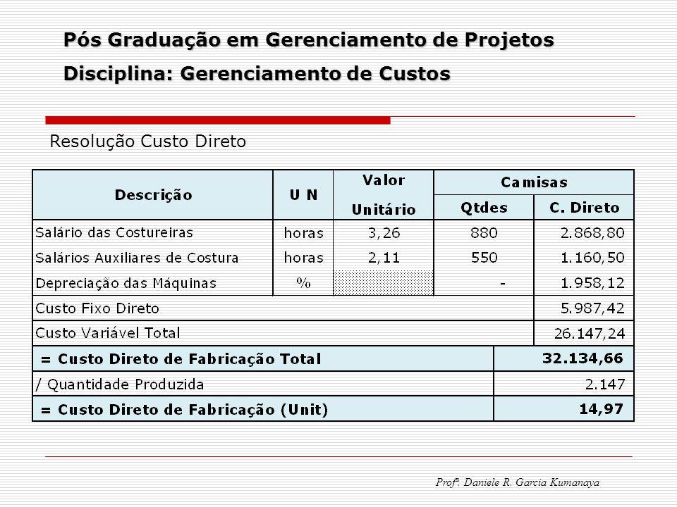 Pós Graduação em Gerenciamento de Projetos Disciplina: Gerenciamento de Custos Profª. Daniele R. Garcia Kumanaya Resolução Custo Direto