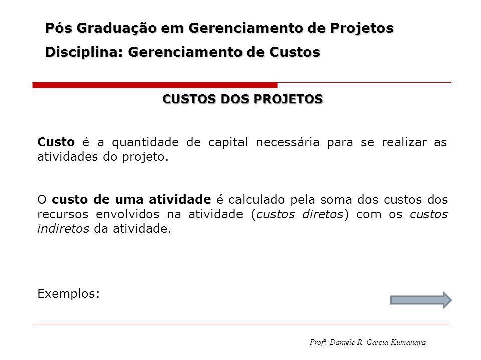 Pós Graduação em Gerenciamento de Projetos Disciplina: Gerenciamento de Custos Profª. Daniele R. Garcia Kumanaya CUSTOS DOS PROJETOS Custo é a quantid