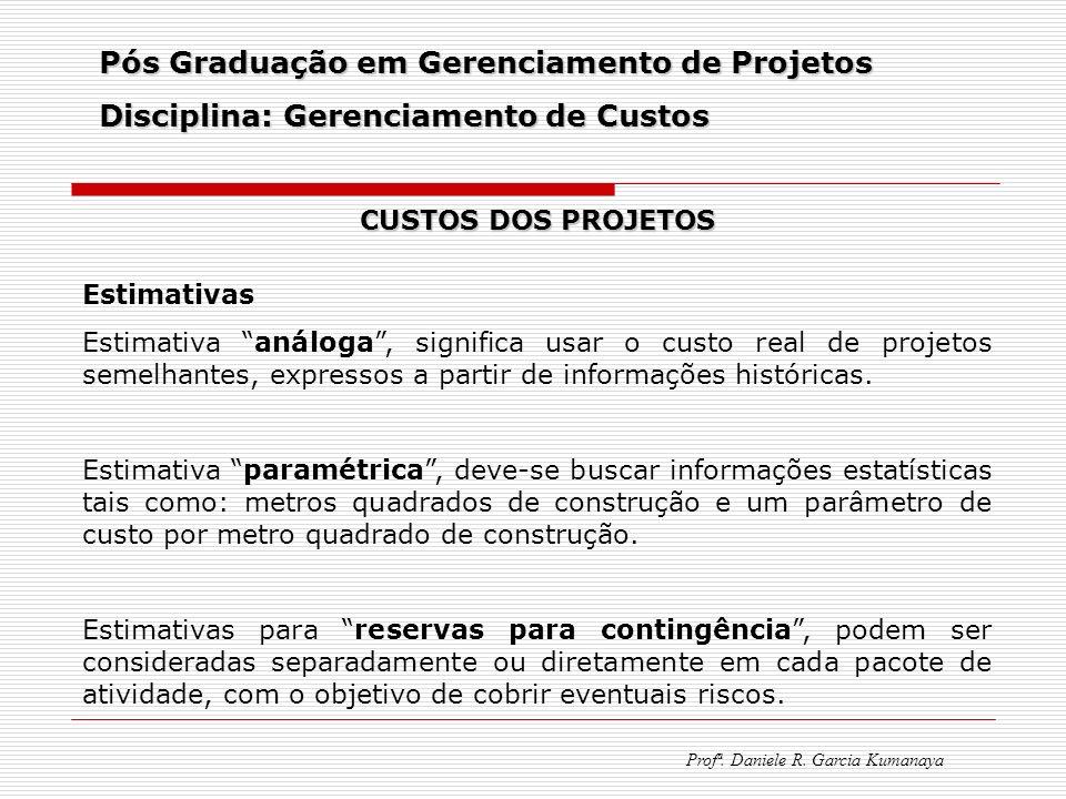 Pós Graduação em Gerenciamento de Projetos Disciplina: Gerenciamento de Custos Profª. Daniele R. Garcia Kumanaya CUSTOS DOS PROJETOS Estimativas Estim