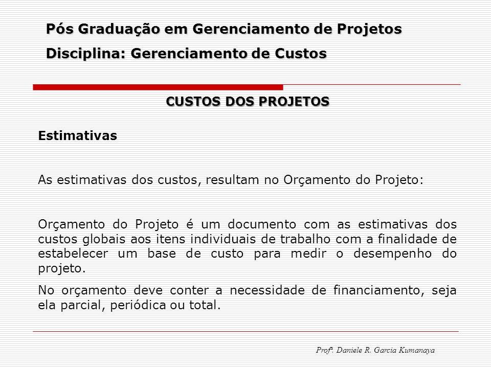 Pós Graduação em Gerenciamento de Projetos Disciplina: Gerenciamento de Custos Profª. Daniele R. Garcia Kumanaya CUSTOS DOS PROJETOS Estimativas As es