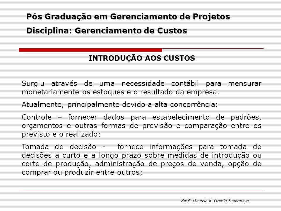 Pós Graduação em Gerenciamento de Projetos Disciplina: Gerenciamento de Custos Profª. Daniele R. Garcia Kumanaya INTRODUÇÃO AOS CUSTOS Surgiu através