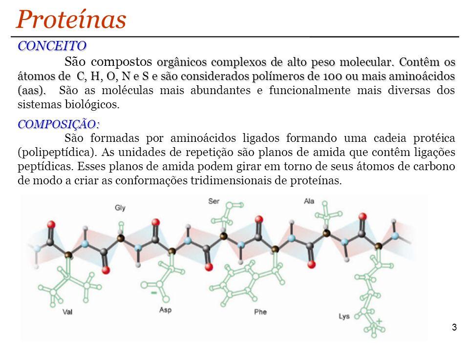 14 Estrutura Terciária Proteínas Interações Hidrofóbicas: formadas entre as cadeias laterais hidrofóbicas dos aminoácidos apolares.