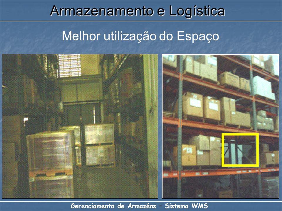 Melhor utilização do Espaço Armazenamento e Logística Gerenciamento de Armazéns – Sistema WMS
