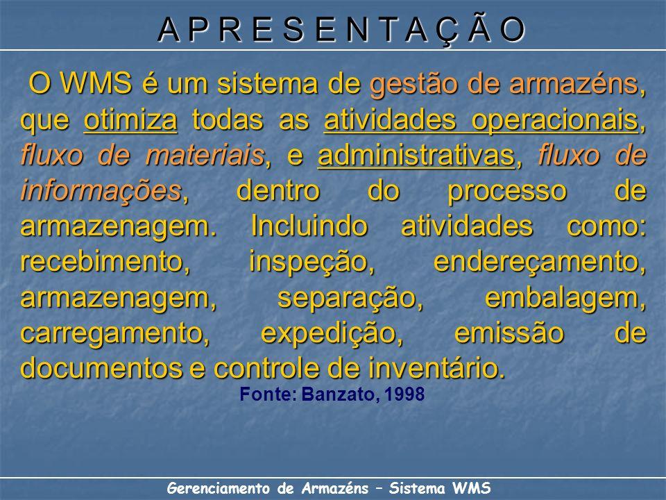 O WMS é um sistema de gestão de armazéns, que otimiza todas as atividades operacionais, fluxo de materiais, e administrativas, fluxo de informações, d