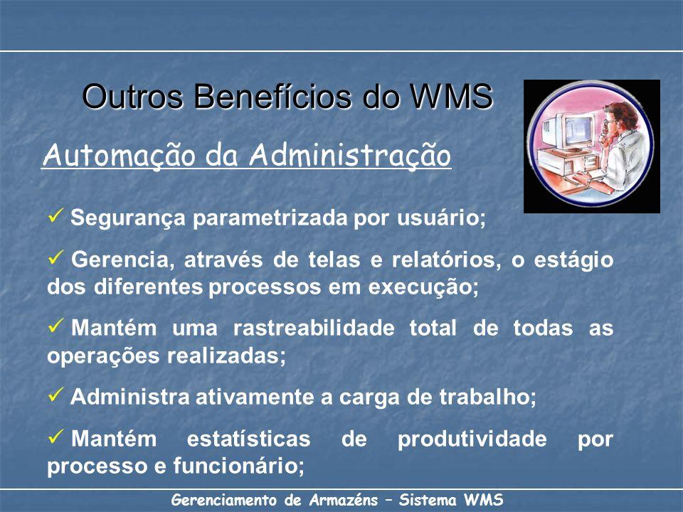 Gerenciamento de Armazéns – Sistema WMS Segurança parametrizada por usuário; Gerencia, através de telas e relatórios, o estágio dos diferentes process