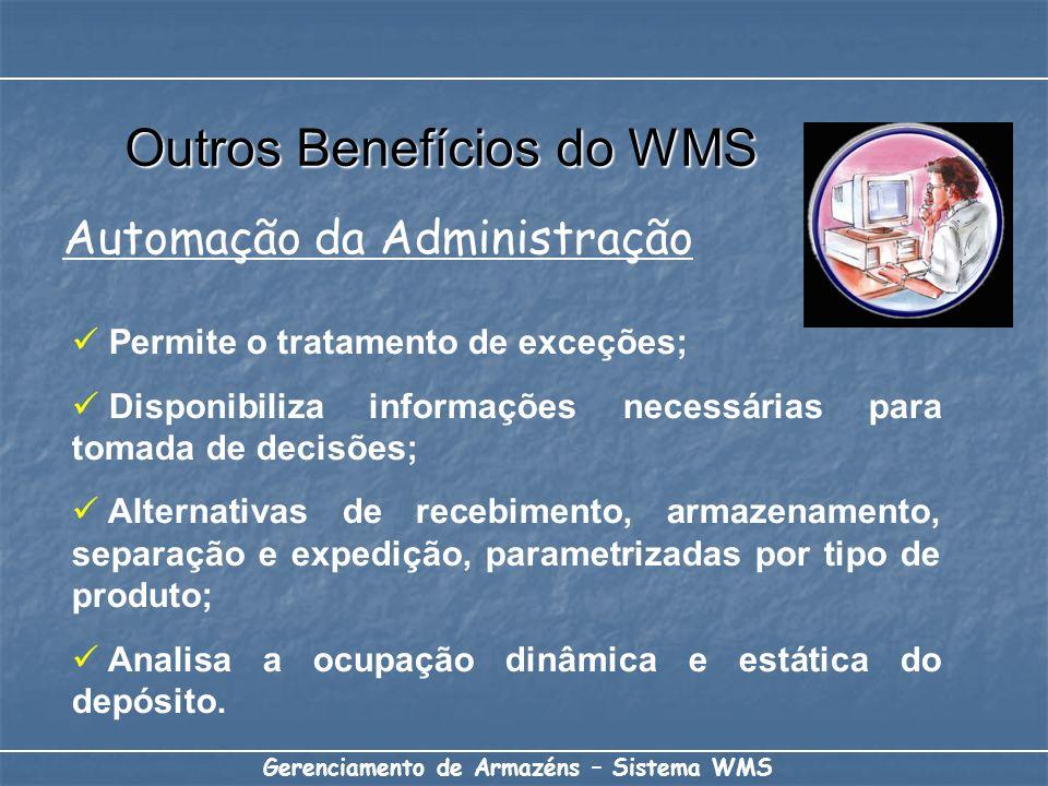 Gerenciamento de Armazéns – Sistema WMS Permite o tratamento de exceções; Disponibiliza informações necessárias para tomada de decisões; Alternativas