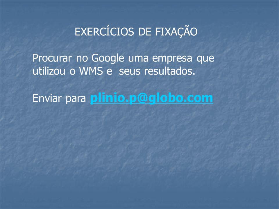 EXERCÍCIOS DE FIXAÇÃO Procurar no Google uma empresa que utilizou o WMS e seus resultados. Enviar para plinio.p@globo.com plinio.p@globo.com