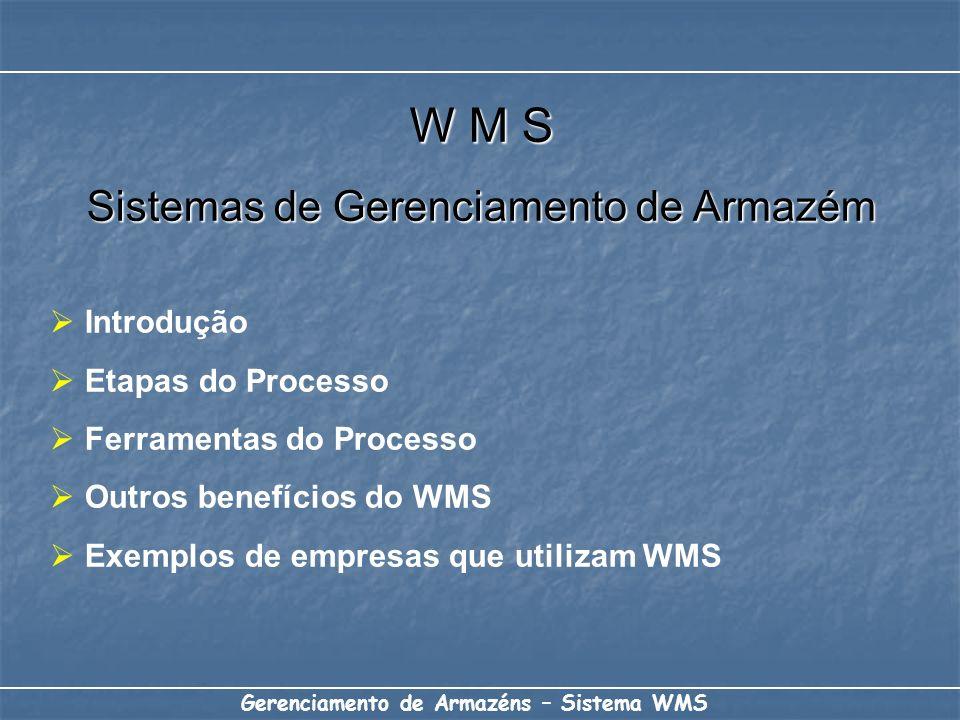 W M S Sistemas de Gerenciamento de Armazém Introdução Etapas do Processo Ferramentas do Processo Outros benefícios do WMS Exemplos de empresas que uti