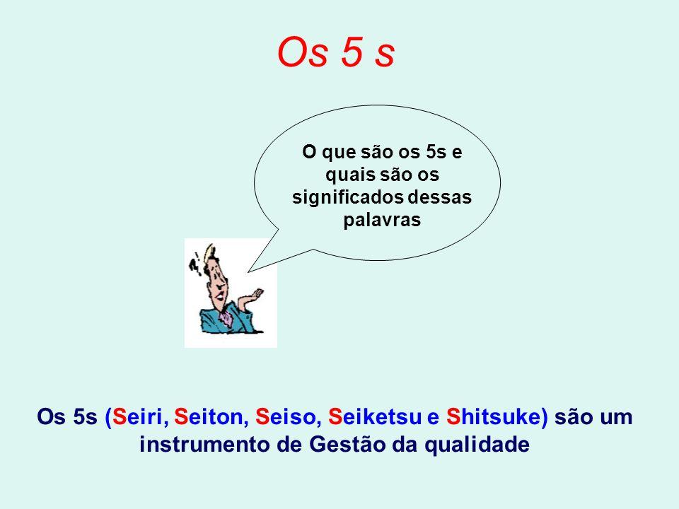 Os 5 s O que são os 5s e quais são os significados dessas palavras Os 5s (Seiri, Seiton, Seiso, Seiketsu e Shitsuke) são um instrumento de Gestão da qualidade