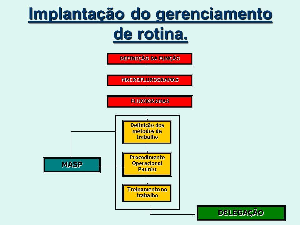 Implantação do gerenciamento de rotina.