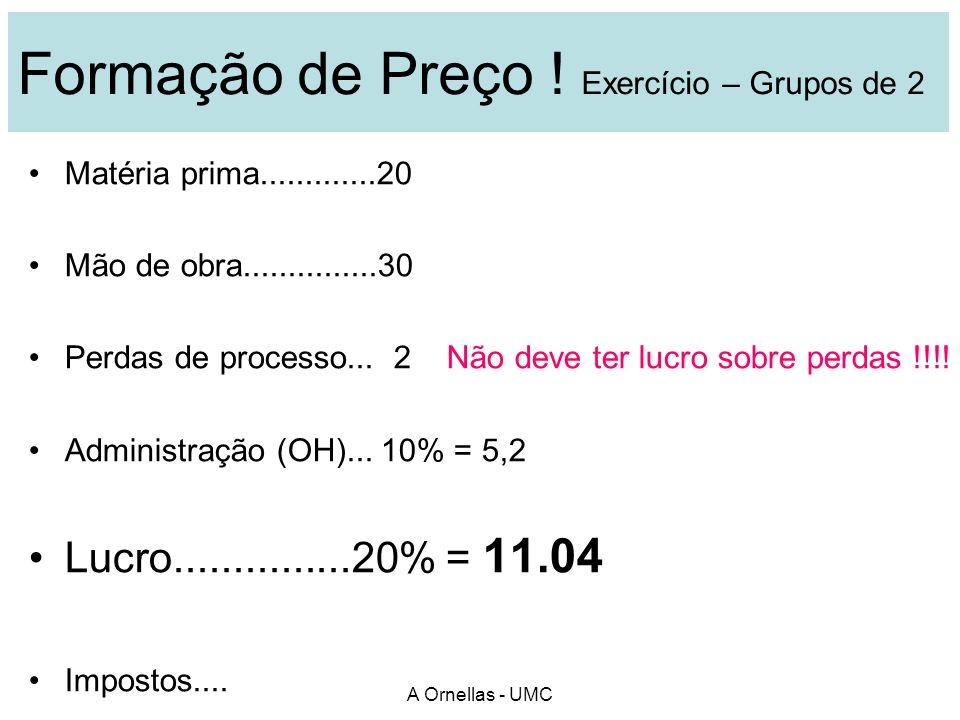 A Ornellas - UMC Estudo de caso : Pág 19 - texto Negociação técnica & Formação de Preço 2 grupos de compradores 2 grupos de vendedores ( diferentes ) 20 MINUTOS DE PREPARAÇÃO – Estudar !!.