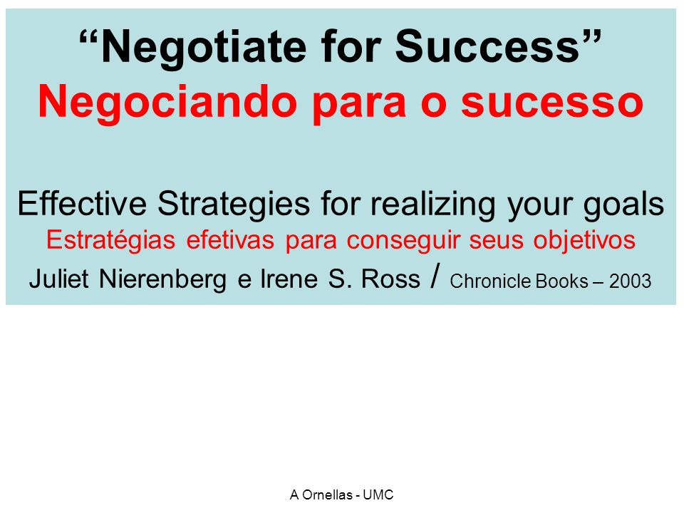 Negotiate for Success Negociando para o sucesso Effective Strategies for realizing your goals Estratégias efetivas para conseguir seus objetivos Julie