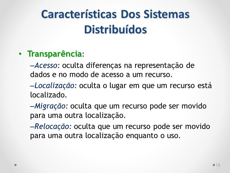 Características Dos Sistemas Distribuídos 13 Transparência Transparência : – Acesso: oculta diferenças na representação de dados e no modo de acesso a
