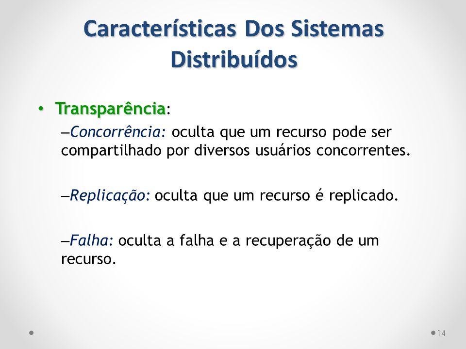 Características Dos Sistemas Distribuídos 14 Transparência Transparência : – Concorrência: oculta que um recurso pode ser compartilhado por diversos u
