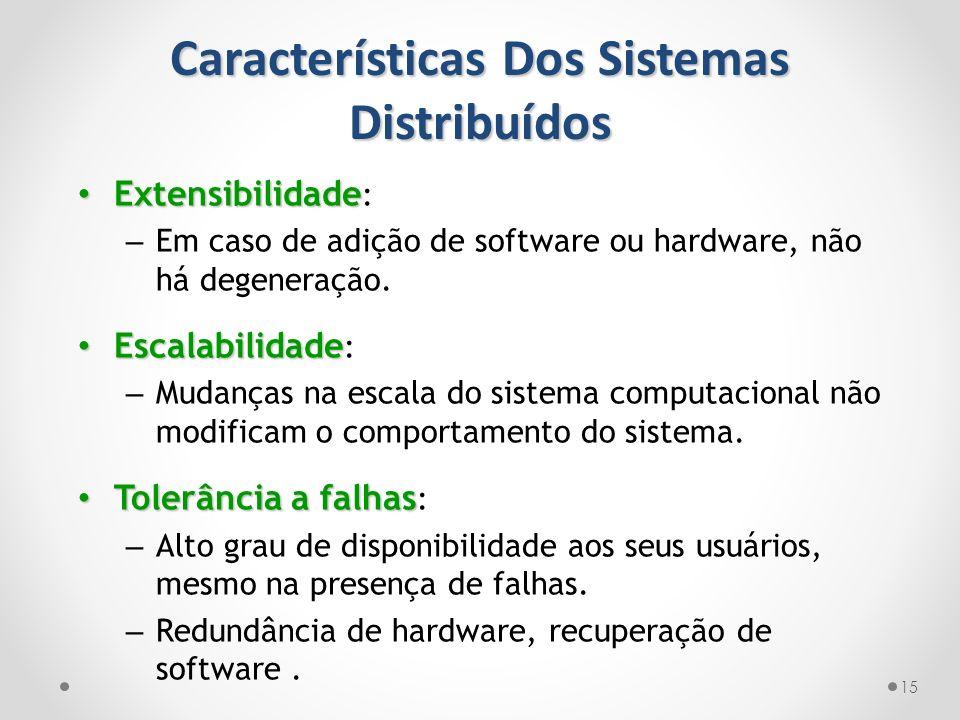 Características Dos Sistemas Distribuídos 15 Extensibilidade Extensibilidade : – Em caso de adição de software ou hardware, não há degeneração. Escala