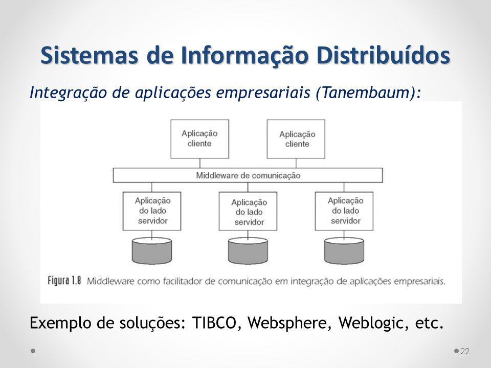 22 Exemplo de soluções: TIBCO, Websphere, Weblogic, etc. Sistemas de Informação Distribuídos Integração de aplicações empresariais (Tanembaum):