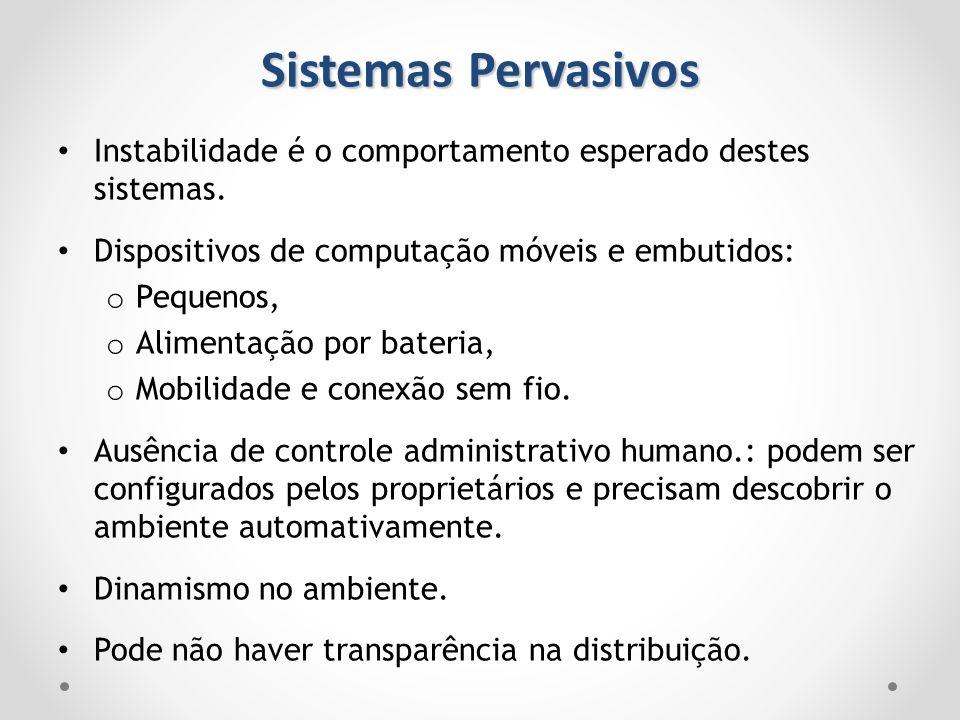 Sistemas Pervasivos Instabilidade é o comportamento esperado destes sistemas. Dispositivos de computação móveis e embutidos: o Pequenos, o Alimentação