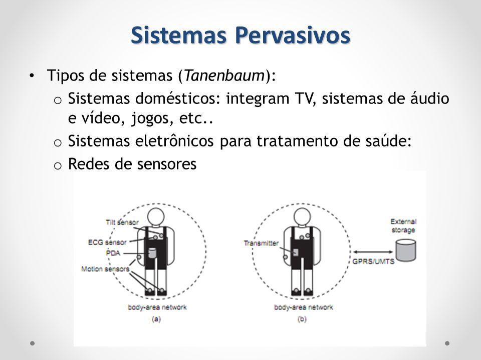 Sistemas Pervasivos Tipos de sistemas (Tanenbaum): o Sistemas domésticos: integram TV, sistemas de áudio e vídeo, jogos, etc.. o Sistemas eletrônicos