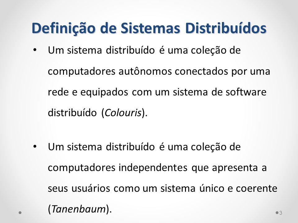 Definição de Sistemas Distribuídos Um sistema distribuído é uma coleção de computadores autônomos conectados por uma rede e equipados com um sistema d