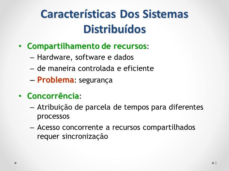 Características Dos Sistemas Distribuídos 5 Compartilhamento de recursos Compartilhamento de recursos : – Hardware, software e dados – de maneira cont